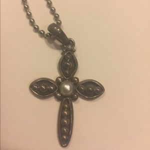 Silpada Pearl and cross charm with bead ball chain